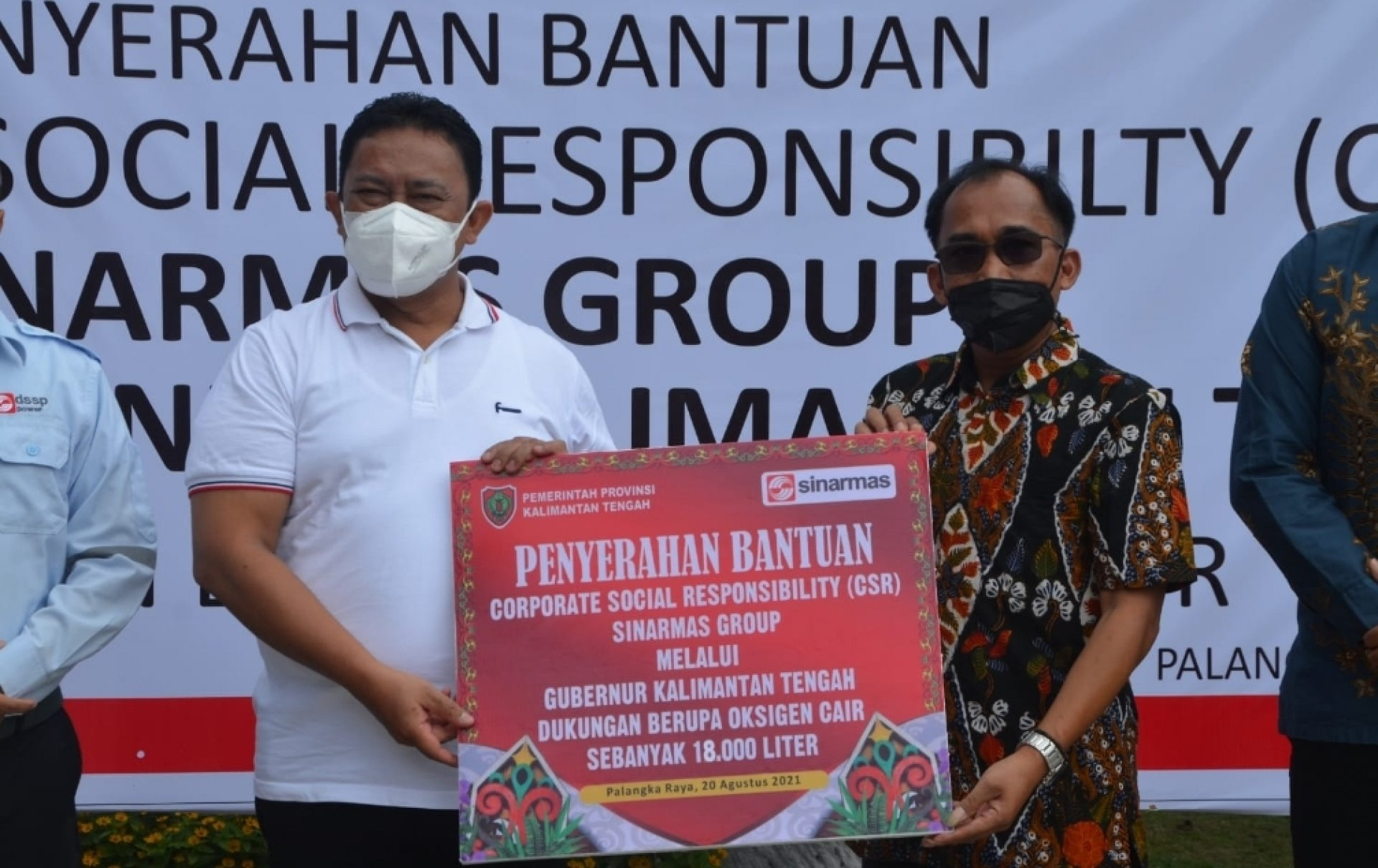 Kalteng Dapatkan Bantuan CSR 18 Ribu Liter Oksigen Cair dari Sinar Mas Group