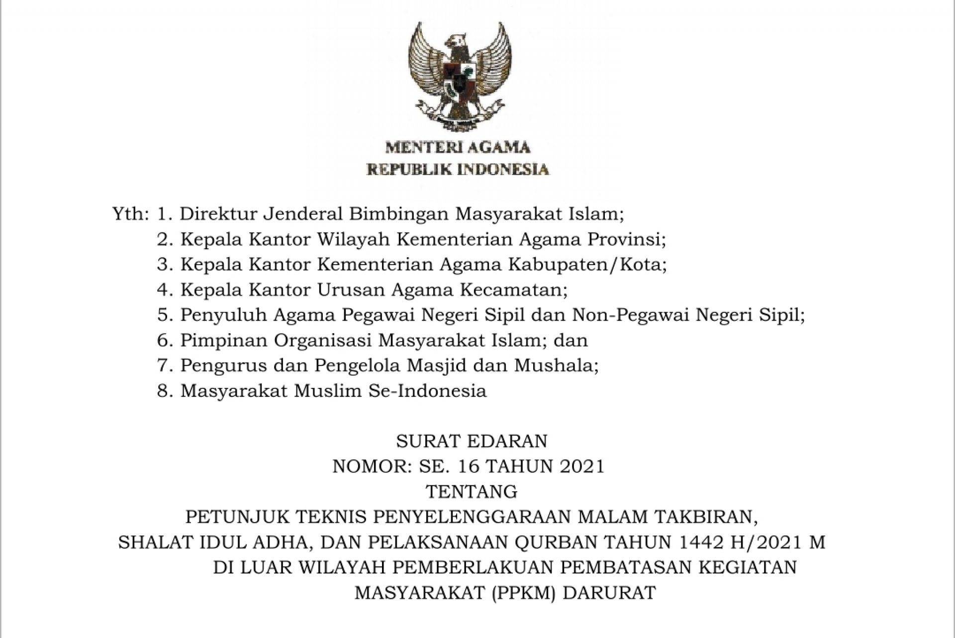 SE Menag Nomor 16 Tahun 2021 Tentang Petunjuk Teknis Penyelenggaraan Malam Takbiran, Shalat Iduladha, dan Qurban di Luar Wilayah PPKM Darurat