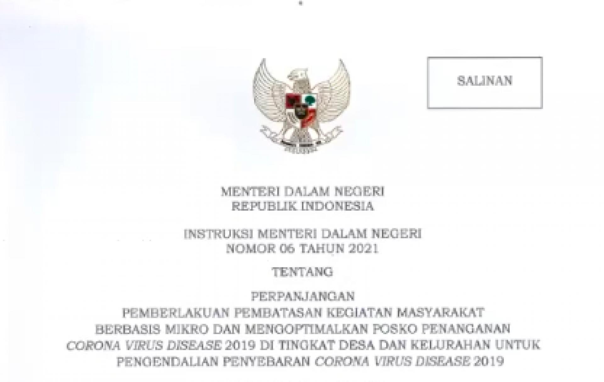 Mendagri Terbitkan Instruksi Nomor 6 Tahun 2021, PPKM Mikro Resmi Diperpanjang dan Diperluas ke 15 Provinsi, Termasuk Kalteng