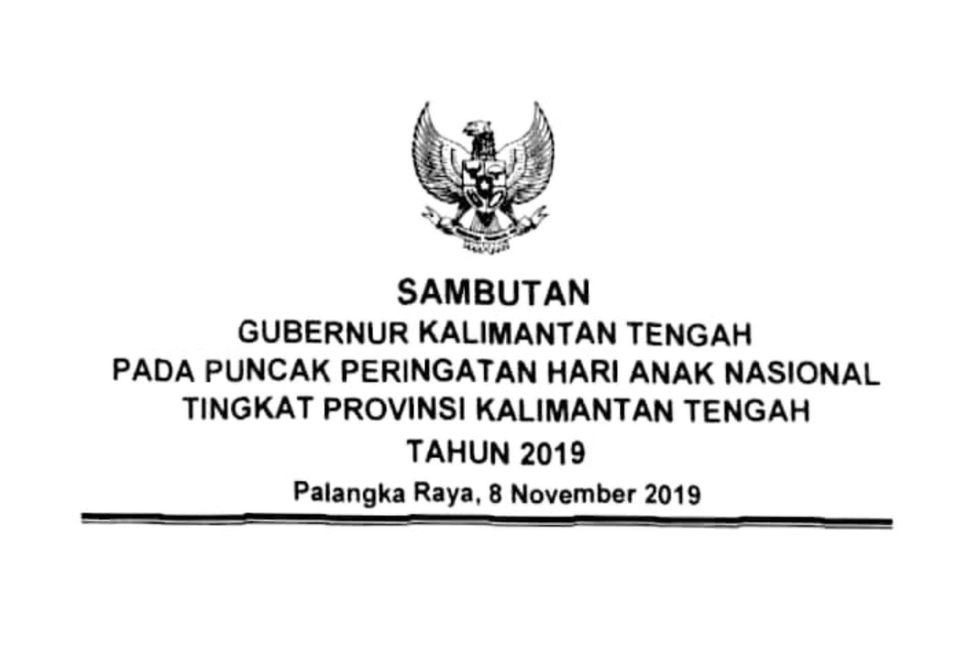Setda Prov Kalteng   Sambutan Gubernur Kalimantan Tengah pada ...