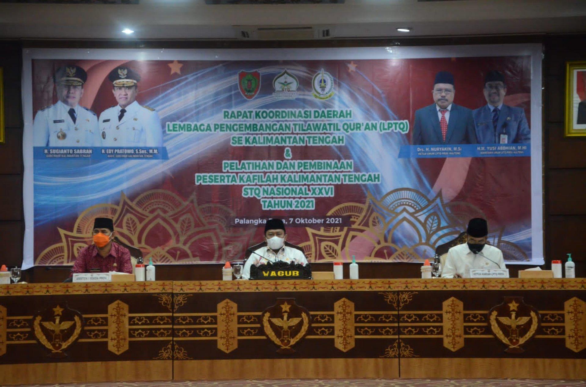 Wagub Hadiri Pembukaan Rakorda LPTQ dan Pelatihan Peserta Kafilah STQ XXVI Tahun 2021