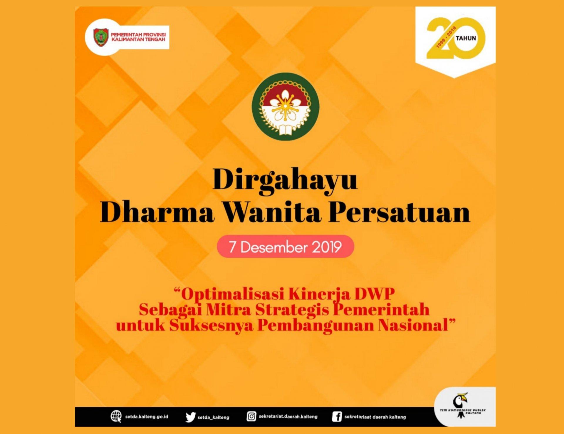 Setda Prov Kalteng   Selamat Hari Ulang Tahun ke 20 Dharma Wanita ...