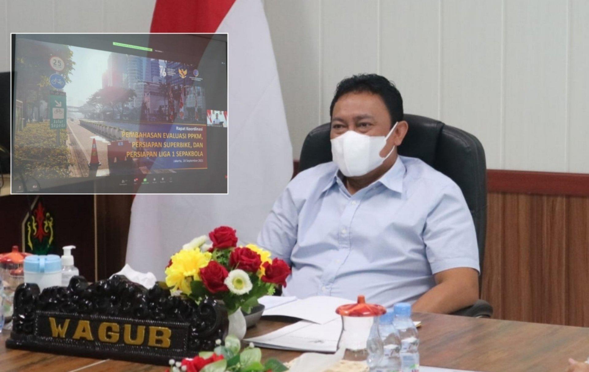 Wagub Edy Pratowo Ikuti Rakor Virtual Evaluasi PPKM Serta Persiapan World Superbike Mandalika dan Liga Sepak Bola