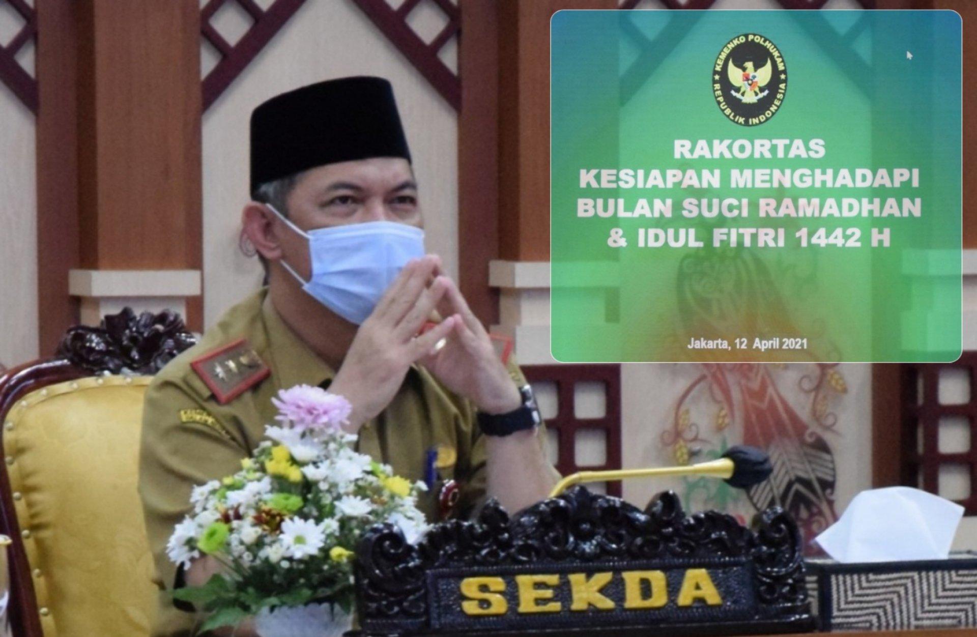 Sekda Kalteng Ikuti Rakortas Tingkat Menteri Antisipasi Lonjakan Kasus Covid-19 pada Bulan Ramadan dan Mudik Lebaran