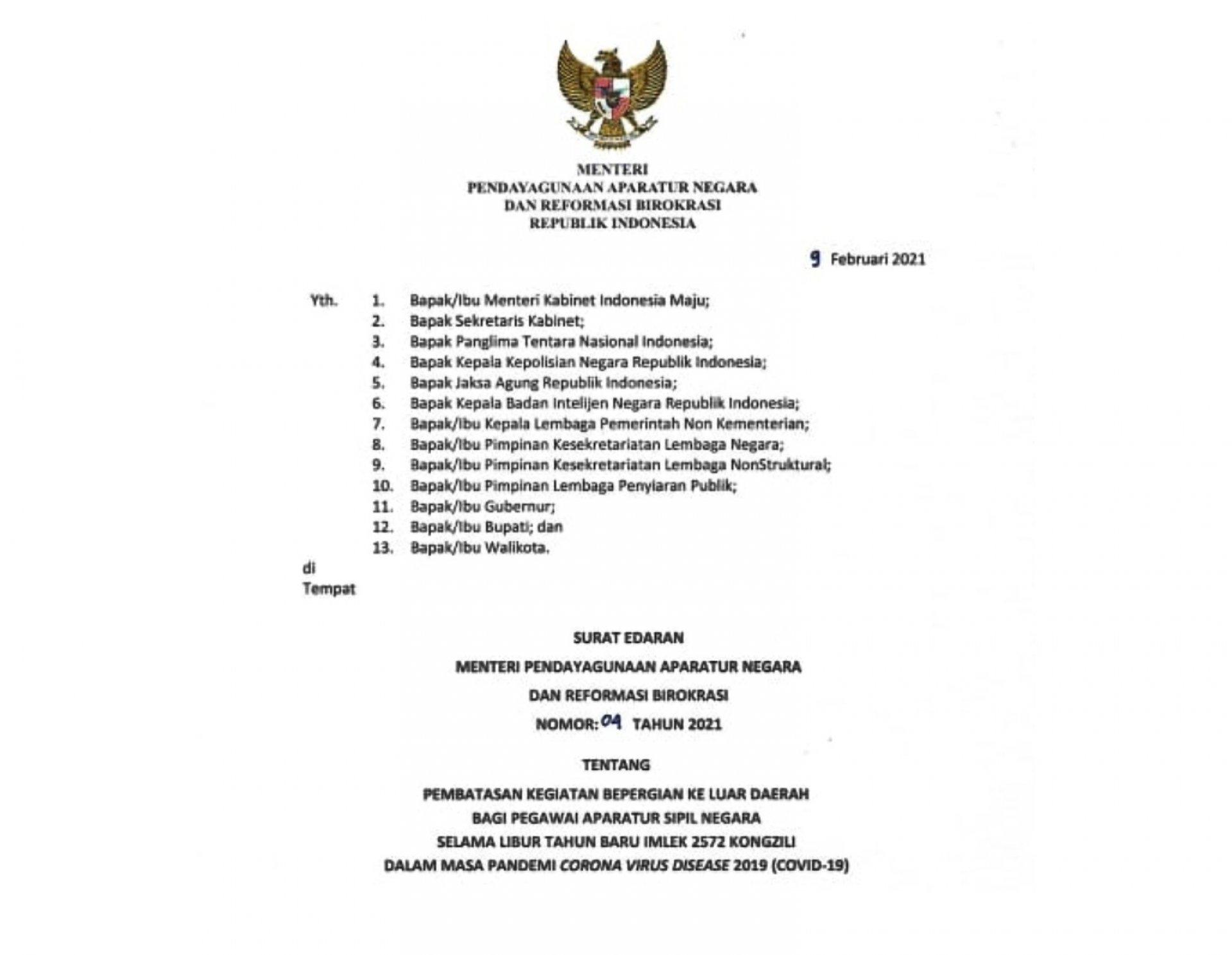 Surat Edaran Menpan RB Nomor 4 Tahun 2021 Tentang Pembatasan Bepergian ke Luar Daerah Bagi ASN Selama Libur Tahun Baru Imlek